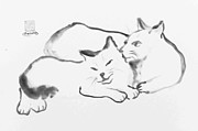 Pictures Of Cats Prints - Espirit de Cats Print by Ellen Miffitt