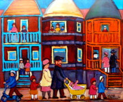 Montreal Street Life Paintings - Esplanade Street Sabbath Walk by Carole Spandau