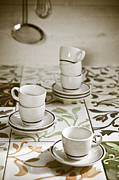 Tiles Framed Prints - Espresso Cups Framed Print by Joana Kruse