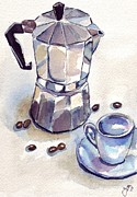 Espresso Paintings - Espresso Maker with Cup 2 by Johanna Pabst