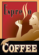 Coffee Drinking Digital Art Prints - Espresso time Print by Cliff Barrow