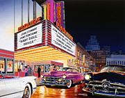 Night-scape Posters - Esquire Theater Poster by Bruce Kaiser
