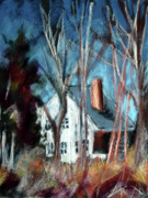 Massachusetts Pastels Posters - Essex Thru Trees Poster by Donna Crosby