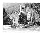 Church Drawings Framed Prints - Estancia United Methodist Church Framed Print by Jack Pumphrey