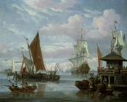 Seascape With Clouds Posters - Estuary Scene with Boats and Fisherman Poster by Johannes de Blaauw