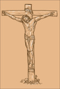 Catholic Digital Art Framed Prints - esus Christ hanging on the cross Framed Print by Aloysius Patrimonio