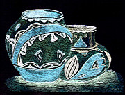 Featured Drawings Prints - Etched Pottery Print by Paula Ayers