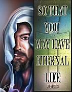 Jesus Face Framed Prints - Eternal Life 2 Framed Print by Reggie Duffie