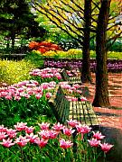 Park Benches Paintings - Eternal Spring by John Lautermilch
