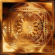 Contemporary Symbolism Framed Prints - Eternity Mandala Golden Zebrawood Framed Print by Hakon Soreide
