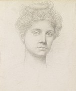 Female Face Drawings - Ethel Pickering by Evelyn De Morgan