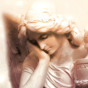 Fantasy Angel Art Posters - Ethereal Dreamy Surreal Angel At Peace Poster by Kathy Fornal