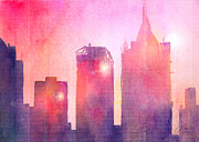 Skyline Mixed Media Posters - Ethereal Skyline Poster by Arline Wagner