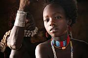 Girl Posters - Ethiopian Hamer girl Poster by Marcus Best