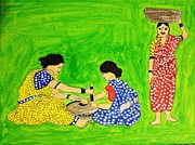 Ethnic Paintings - Ethnic Indian Village Women by Vamsi Maganti