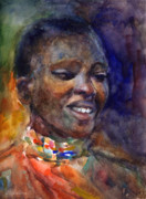 Watercolor Drawings Originals - Ethnic woman portrait by Svetlana Novikova