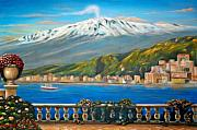 Italian Art Painting Framed Prints - Etna SICILY Framed Print by ITALIAN ART- Angelica