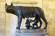 Well-known Posters - Etruscan bronze statue of the she-wolf with Romulus and Remus. Capitoline Museum. Capitoline Hill. R Poster by Bernard Jaubert