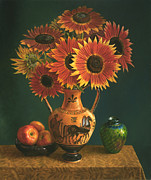 Roman Vase Prints - Etruscan Vase and Red Sunflowers Print by Lyndall Bass