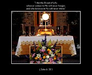 Adoration Framed Prints - Eucharist I Am the Bread of Life Framed Print by Rose Santuci-Sofranko