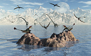 Paleozoology Art - Eudimorphodons Fishing For Their Next by Mark Stevenson