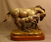 Equine Sculpture Sculptures - Euphoria Bronze Mare and Foal horse sculpture by Kim Corpany