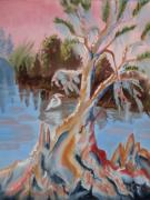 Eureka Paintings - Eureka  Cypress on the Ocklawaha River  by Warren Thompson
