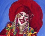 Smiling Painting Posters - Eureka Springs Clown Poster by Patty Vicknair