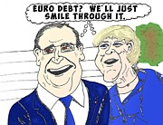 News Mixed Media - Euro debt caricature by OptionsClick BlogArt