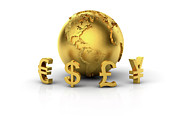 World Map Digital Art Posters - Euro, Dollar, Pound And Yen With Golden Globe Poster by Bjorn Holland