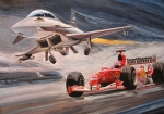 Jet Painting Prints - Eurofighter vs. Ferrari Print by Antje Wieser