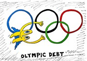 News Mixed Media - Euroman Olympic Debt by OptionsClick BlogArt