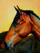 Horse Head Paintings - Europa by Maria Barry