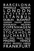 Text Map Digital Art Metal Prints - Europe Cities Bus Roll Metal Print by Michael Tompsett