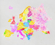 Water Color Posters - Europe map Poster by Setsiri Silapasuwanchai