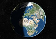 Hemisphere Prints - Europe, Satellite Image Print by Planetobserver