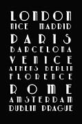 Typography Map Prints - European Cities - Bus Roll Print by Nomad Art And  Design