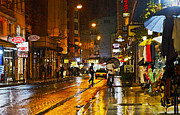 Subtle Colors Prints - European City Rainy Night Print by Kantilal Patel