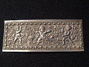 European Jewelry - European silver plaque decorated in repousse with 3 cupids by European silversmith