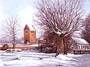 Snow-covered Landscape Painting Prints - European winter scene Print by Grace Nikander