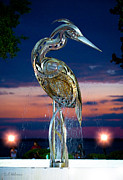 Christopher Holmes Posters - Eustis Egret Fountain Poster by Christopher Holmes