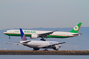 Landing Jet Prints - EVA Airways And United Airlines Jet Airplanes At San Francisco International Airport SFO . 7D12256 Print by Wingsdomain Art and Photography