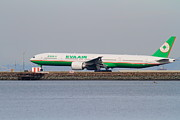 San Francisco Airport Posters - EVA Airways Jet Airplane At San Francisco International Airport SFO . 7D12260 Poster by Wingsdomain Art and Photography