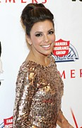 Hair Bun Metal Prints - Eva Longoria In Attendance For Padres Metal Print by Everett