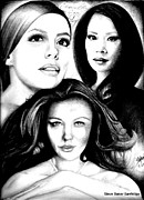 Catherine Drawings Framed Prints - Eva Longoria Lucy Lui and Catherine Zeta Jones Framed Print by Steve Baker Sanfellipo