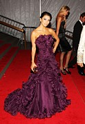 Strapless Dress Prints - Eva Longoria Wearing A Marchesa Gown Print by Everett