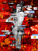 Karine Percheron-daniels Art - Eva Peron Nude En Rouge by Karine Percheron-Daniels