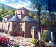 Orthodox Church Paintings - Evangelistria at Dawn by Yvonne Ayoub
