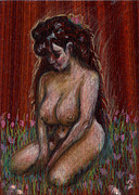 Drawing Painting Originals - Eve in her Garden by Mani Price