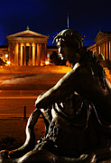 Benjamin Franklin Parkway Photos - Eve in the Garden of Art - Philadelphia Museum of Art - Washington Memorial Fountain  by Lee Dos Santos